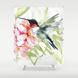 Hummingbird and Plumeria Flowers Shower Curtain