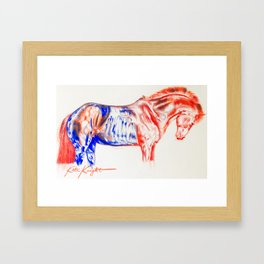 Red and Blue Horse Framed Art Print
