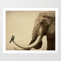 elephants Art Prints featuring Old Friend by Eric Fan