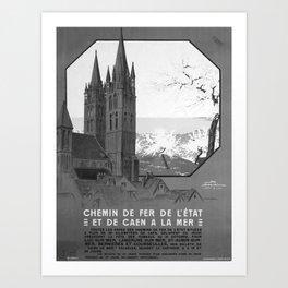 retro monochrome De Caen a la Mer Art Print