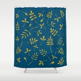 Gold Leaves Design on Teal Shower Curtain