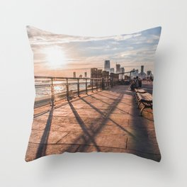 Coral Sun in Battery Park, NYC Throw Pillow