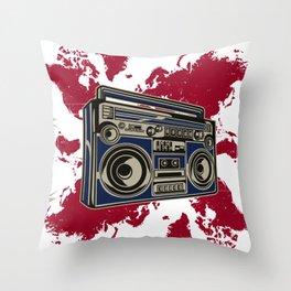 Boom Boom Box  - Red Throw Pillow