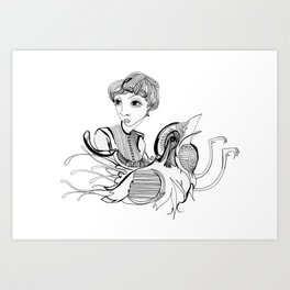 Woman On Bird Art Print