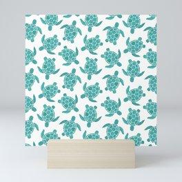Save The Turtles in Teal Mini Art Print