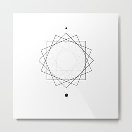 Sun Geometry White Metal Print
