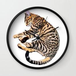 Bengal Kitty Nap Wall Clock