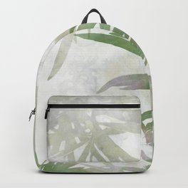 Olive Green Palm Leaves Watercolor Painting Backpack
