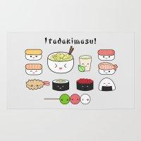 ramen Area & Throw Rugs featuring Itadakimasu! by Bonitismo