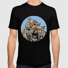 TIGERS - DOUBLE TROUBLE Black Mens Fitted Tee MEDIUM