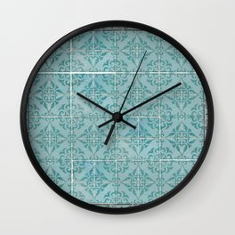 Victorian Turquoise Ceramic Tiles Wall Clock