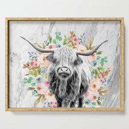 Highland Cow With Flowers on Marble Black and White Serving Tray