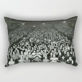 One-thousand Bizzaro Masked Mickeys watching cartoons in theatre black and white photograph Rectangular Pillow