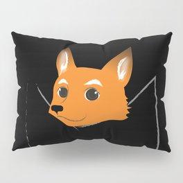 Fox in my pocket - on black Pillow Sham