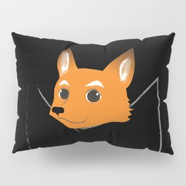 Fox in my pocket - on black Pillow Sham