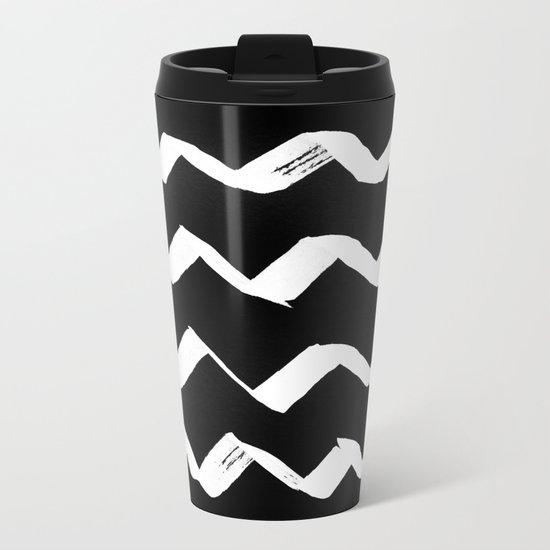 Ink Chevron(invert) Metal Travel Mug
