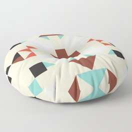 Geometric Quilt-like pattern - ivory, rust, sable, teal Floor Pillow