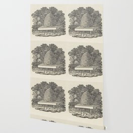 Beehive Woodcut Wallpaper