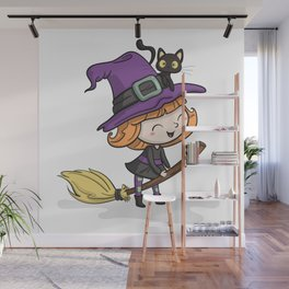 Cute Halloween Witch illustration Wall Mural