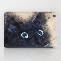 black cat iPad Cases featuring Black cat by jbjart