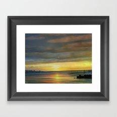 Captivating Sunset Over The Harbor  Framed Art Print