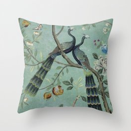 A Teal of Two Birds Chinoiserie Throw Pillow