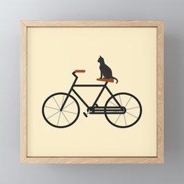 Cat Riding Bike Framed Mini Art Print