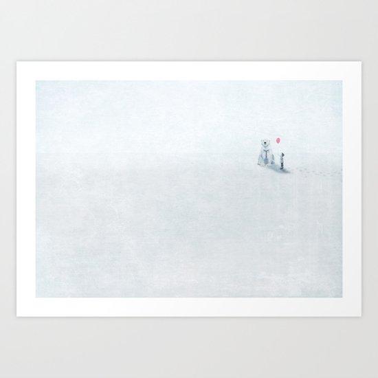 The boy and the bear Art Print