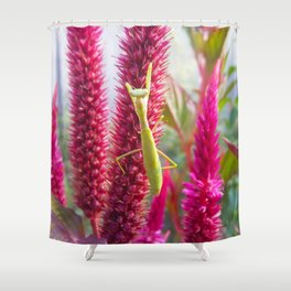 Red flower and grasshopper Shower Curtain