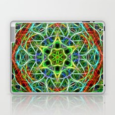 Feathered texture mandala in green and brown Laptop & iPad Skin