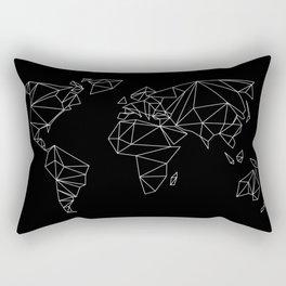 geo world map black Rectangular Pillow