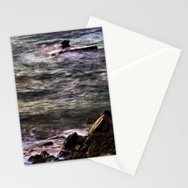 Waves at sunset Stationery Cards
