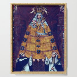 Cusco School Our Lady of the Rosary with Saint Dominic and Saint Rose Serving Tray