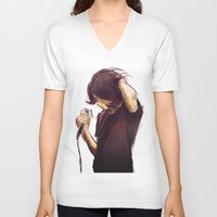 alex turner V-neck T-shirts featuring alex turner [7] [humbug] by roanne Q