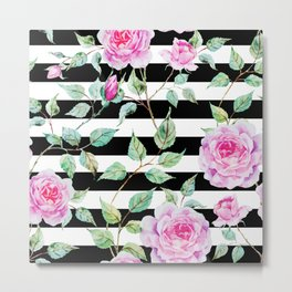 Roses, Pink Floral, Black and White Stripes Metal Print