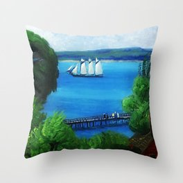 American Masterpiece 'Passing Schooner' by John French Sloan Throw Pillow