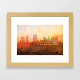 Columbus, Ohio Skyline - In the Clouds Framed Art Print