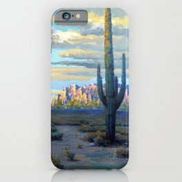 Superstition Mountains and Desert Landscape by John Marshall Gamble iPhone Case