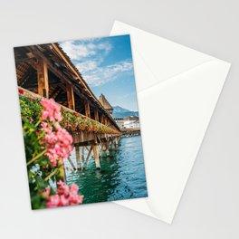Lucerne Kapellbrücke - Switzerland Flowers and Lake Stationery Cards