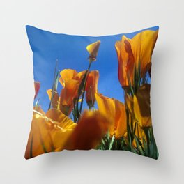 Blooming Wild Poppies Throw Pillow