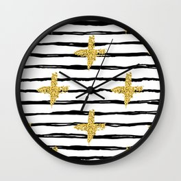 Gold glitter cross and black stripe Wall Clock