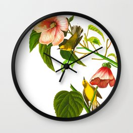 Blue winged Yellow Warbler Wall Clock