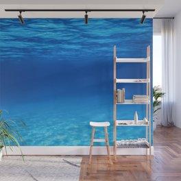 Underwater Blue Ocean, Sandy sea bottom Underwater background Wall Mural