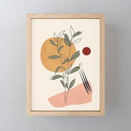 Minimal Line Young Leaves Framed Mini Art Print