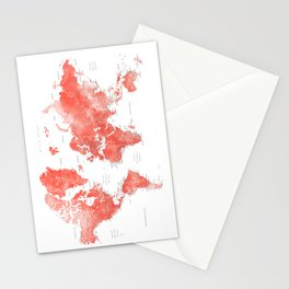 Living coral watercolor world map with cities Stationery Cards