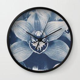 Iris in Blue Wall Clock