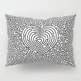 Ultimate heart maze in black Pillow Sham