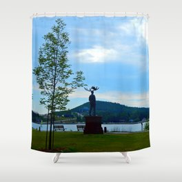 MooseMan Only in Gaspe Shower Curtain