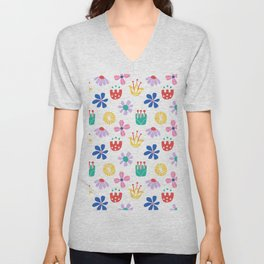Nordic Floral in Mod Rainbow + White Unisex V-Neck