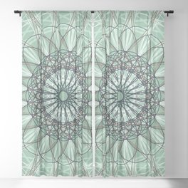 Green Geometric Flower Boho Design - c13054.6 Sheer Curtain